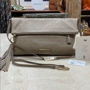 ANYA HINDMARCH SIGNATURE EMBOSSED TAUPE LEATHER